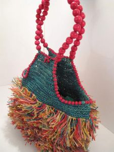 1990's straw raffia and wooden beaded vintage handle jungle bag **SOLD** es